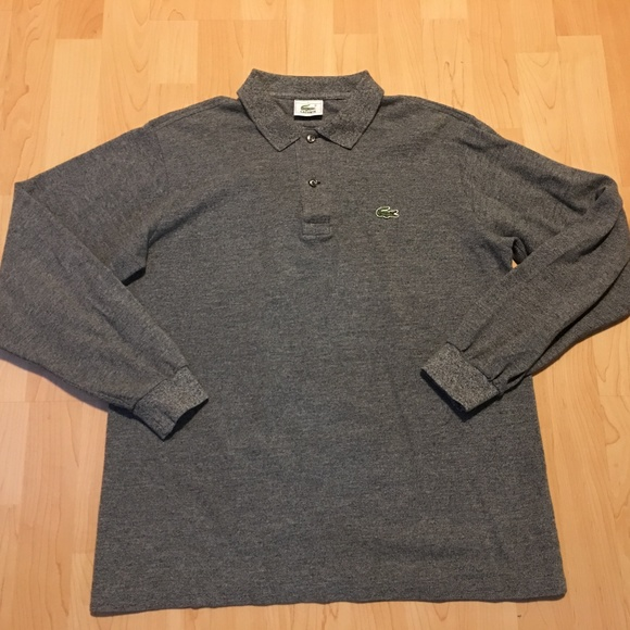 b637a612 Men's Lacoste Long-sleeve Gray Rugby Polo Size M
